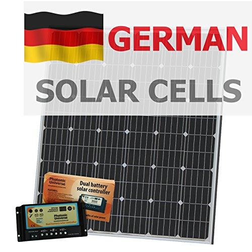 200W 12V Photonic Universe Dual batería Kit de Carga Solar Fabricado en alemán células solares, con 20A Controlador de Carga y Cable de 5m