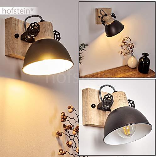 Wandleuchte Orny, verstellbare Wandlampe aus Metall/Holz in Anthrazit/Weiß/Braun, 1-flammig, 1 x E27-Fassung max. 60 Watt, Wandspot im Retro/Vintage Design, für LED Leuchtmittel geeignet