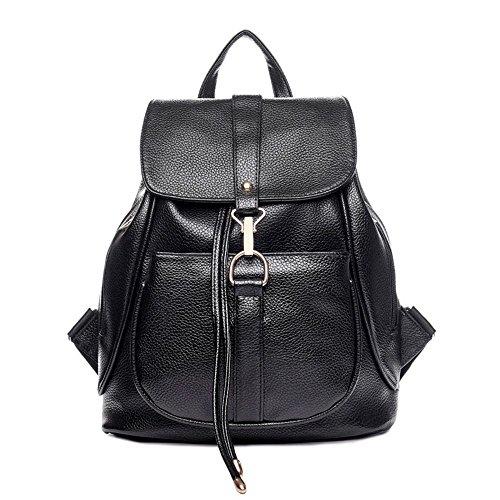 Mode Bag Zaino Donna in PU pelle donna Negozio zaino borsa da viaggio Sacchetto di Scuola (nero)