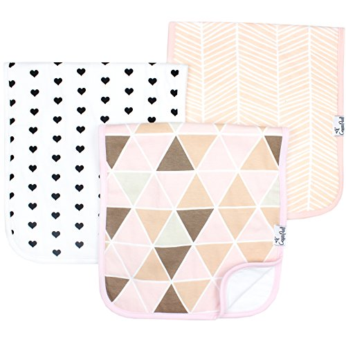 Baby Burp Cloth Large 21x10 Size Premium Absorbent Triple Layer 3 Pack Gift Set for Girls