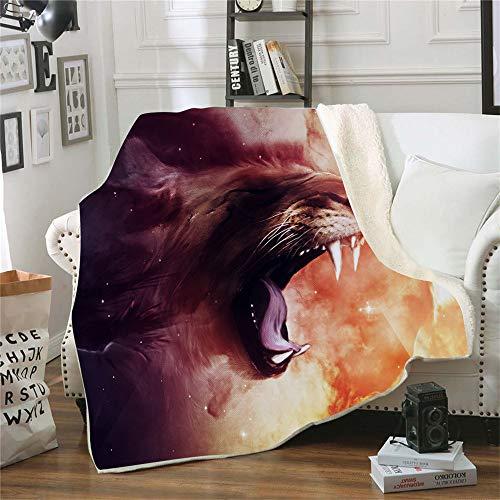 QQFENG Kuscheldecke Bedruckte Fleecedecke 3D Wilder Löwe für Betten Dicke Steppdecke Tagesdecke Sherpa Decke Decke Erwachsene Kinder Büro Nap Decke 150 X 200 cm