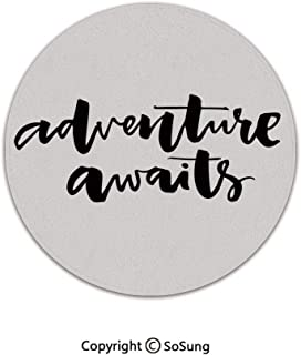 Adventure Round Area Rug,Inspirational Quote About Life and Travel Adventure Never Stops Journey Theme Decorative,for Living Room Bedroom Dining Room,Round 4'x 4',Black Wihte
