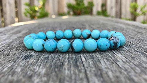 LOVEKUSH Venta al por mayor 8mm elástico azul turquesa pulsera redonda, lisa 7 pulgadas para hombres, mujeres, gf, bf y adultos.
