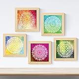 Nacnic Pack de 5 láminas con imágenes de Mandalas MOTIVACION. Posters Cuadrados con Mandalas. Decoración de hogar. Llena tu casa de espiritualidad con Nuestros diseños
