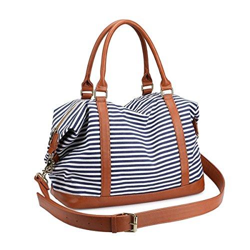 LOSMILE Damen Reisetaschen Handgepäck Canvas Sporttasche Weekender Tasche Carry-on Duffle Bag Frauen Schultertaschen Handtasche Umhängetasche Reisegepäck Reise Taschen (Blau)