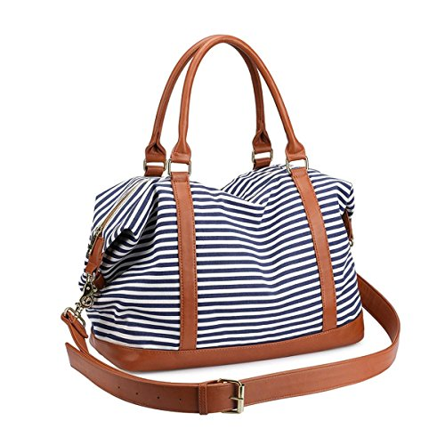Women's Travel Duffle Bags, LOSMILE Ladies Canvas Weekend Overnight Carry on Shoulder Tote Bag Holdall Luggage Bags (Navy Blue Stripe)