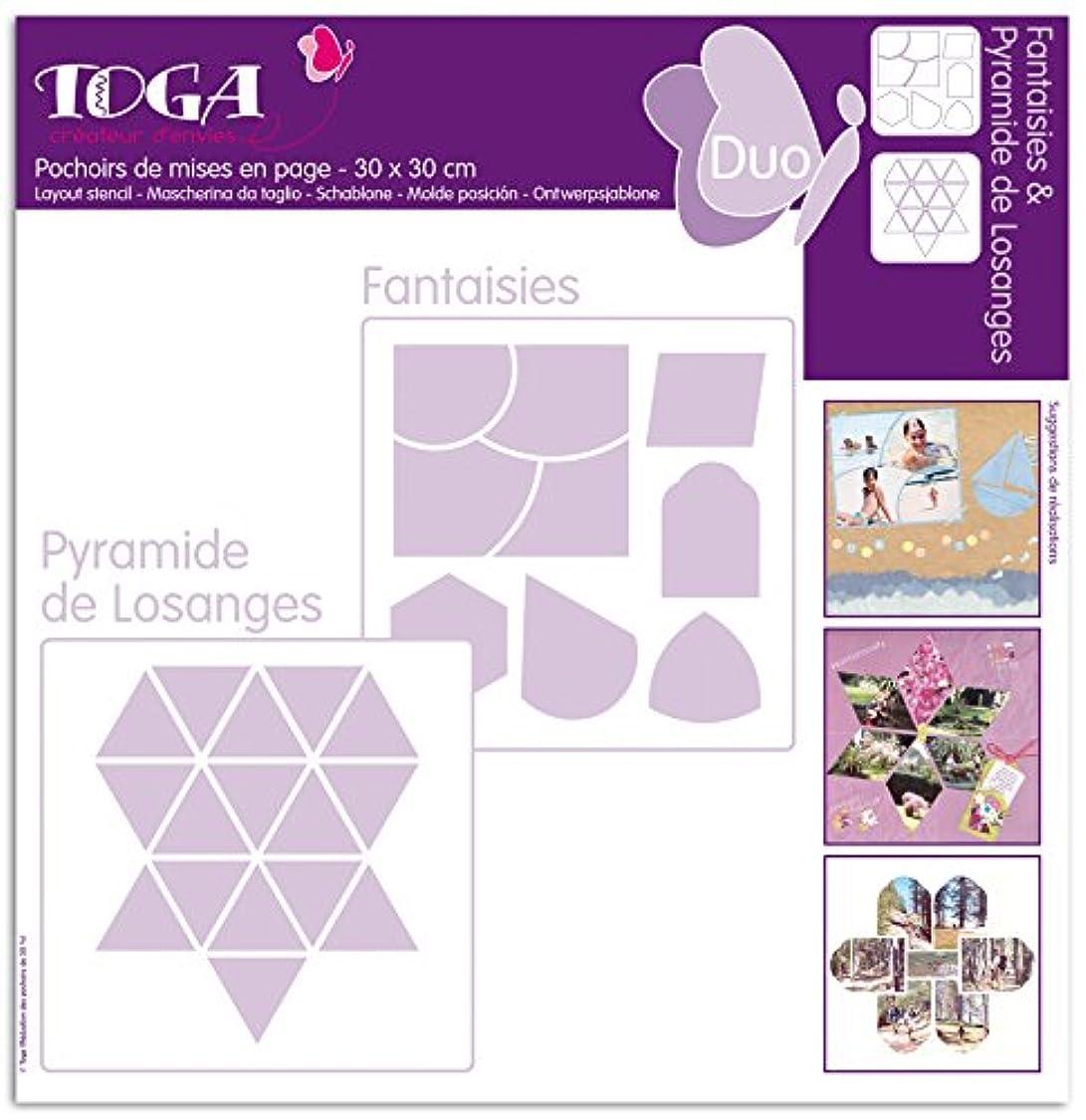 Toga PO19?Stencils Set of 2?30?x 30?x 0.1?cm Plastic Transparent ud16041377287323