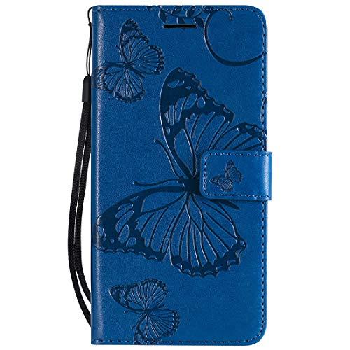 Yiizy Handyhüllen für Huawei Honor 8A Ledertasche, Schmetterling 3D Stil Lederhülle Brieftasche Schutzhülle für Huawei Honor Play 8A hülle Silikon Cover mit Magnetverschluss Kartenfächer (Schwarz)