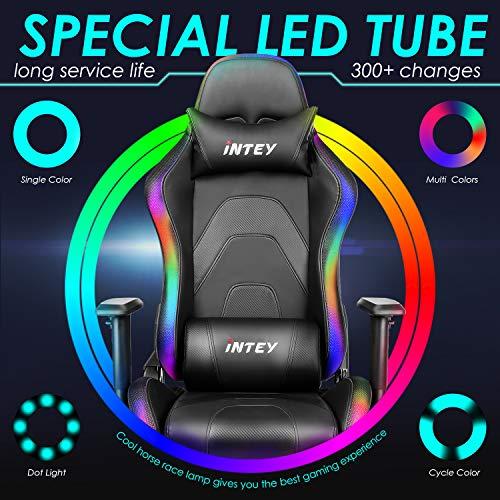 INTEY Chaise Gaming LED Chaise Bureau Ergonomique Gaming Siège Gamer LED Chaise RGB Fauteuil Gamer Dossier Inclinable à 160°, avec RF télécommande, Appui-tête Support Lombaire, Capacité 136KG Noir