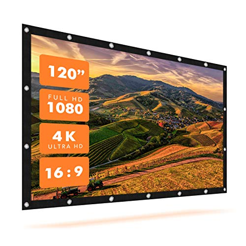 Krossgain Projector Screen 120 inch 16:9 HD 4K Foldable Anti-Crease Portable Projection Movies Screens for Home Theater Indoor Outdoor Class Office Display