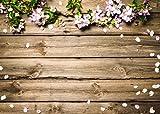 LYWYGG 7x5FT Vinilo Fotografía Telón de Fondo Pétalos de Primavera Fondo de Madera del tablón para la Fiesta de cumpleaños Estudio recién Nacido Apoyos CP-132