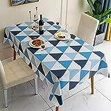 Dthlay Tovaglie Antimacchia Impermeabile PVC Tovaglia Antipolvere Stampa Triangolo Impermeabile Blu-140 * 180cm