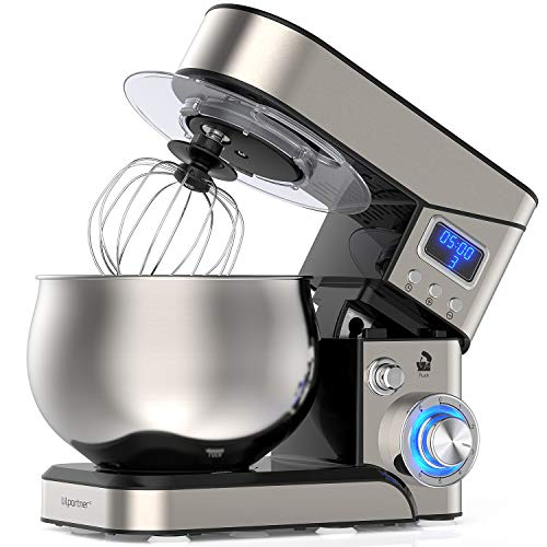 Stand Mixer, 1200W Stainless Steel Mixer 5.3-QT LCD Display Kitchen Electric Mixer, 6+P Speed Food Mixer Tilt-Head Mixer with Stainless Steel Bowl, Dough Hook, Beater, Whisk