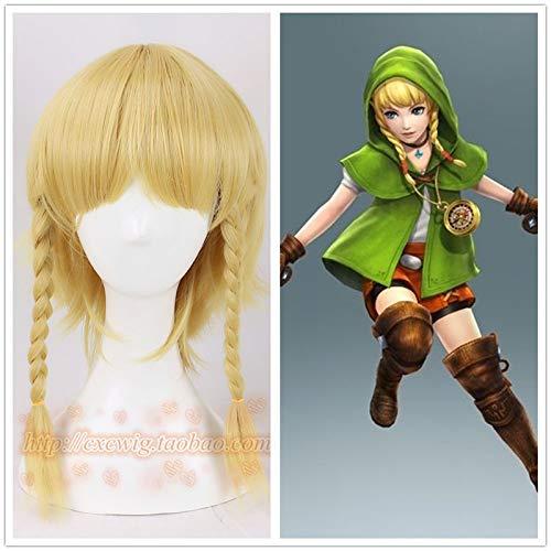 Die Legende von Zelda Link Gold Perücke mit 2 Zöpfen Mädchen Link Cosplay Perücke Link Rollenspiel Gold Haar mit Haarnetz