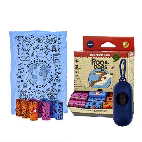 Rc Ocio Bolsas Caca Perros ecologicas con Porta Bolsa dispensador/Rollo bolsitas higienicas para excrementos Perro Grande y pequeñas/recogedor de heces y excremento de Mascotas (945 Bolsas)