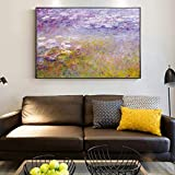 Lirios de agua Pinturas Impresionista Pintura famosa Flor Lienzo Cuadros para la decoración de la sala de estar 40x60cm