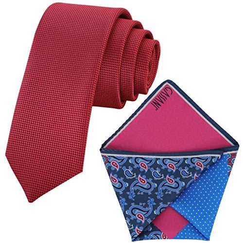 GASSANI Juego de 6 cm de corbata estrecha estructurada con 4 diseños, Frambuesa rojo fucsia., Small