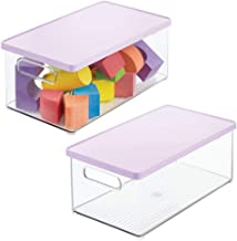 mDesign Stackable Plastic Storage Bin Box with Removable Lid - for Organizing Baby/Child's/Kids Toys, Action Figures, Mark...