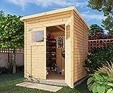 Alpholz Gerätehaus Mollie aus Fichten-Holz | Gartenhaus mit 14mm Wandstärke | Holzhaus inklusive Montagematerial | Geräteschuppen Größe: 197 x 193 cm | Pultdach