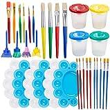Kit de Herramientas de Pintura,34 Piezas de Suministros de Pintura que Incluyen Taza de Pintura,Bandeja de Paleta,Juego de Pinceles de Pintura para Regalos de Niños,Fiesta de Arte (Pintura)