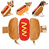 Aeromdale Hot Dog Animaux Chiot Costume Halloween Vêtements Moutarde Vêtements de Chat Tenue pour Petit Chien Moyen - 1pc - S