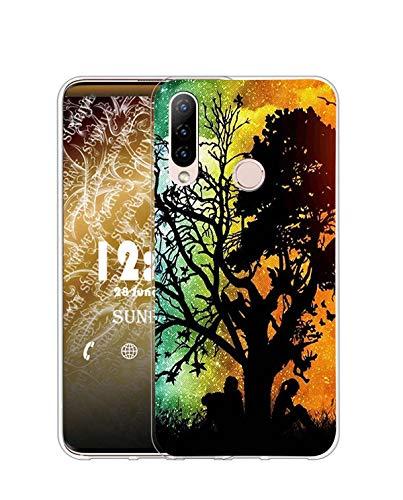 Sunrive Funda Compatible con Honor 20 Lite, Silicona Slim Fit Gel Transparente Carcasa Case Bumper de Impactos y Anti-Arañazos Espalda Cover(Q árbol)