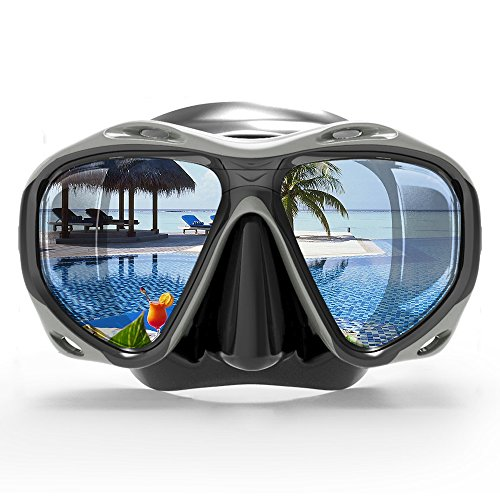 COPOZZ Snorkel Mask, Snorkeling Scuba Dive Glasses, Free Diving Tempered Glass Goggles - Optional Dry Snorkel with Comfortable Mouthpiece (4260-Black)