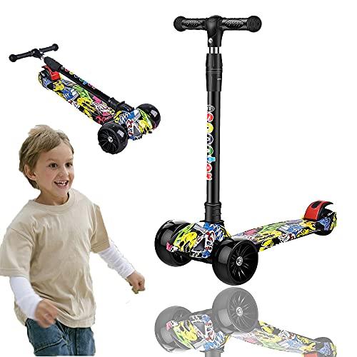 Patinete infantil de 3 ruedas, plegable, con ruedas con luces LED, 4...