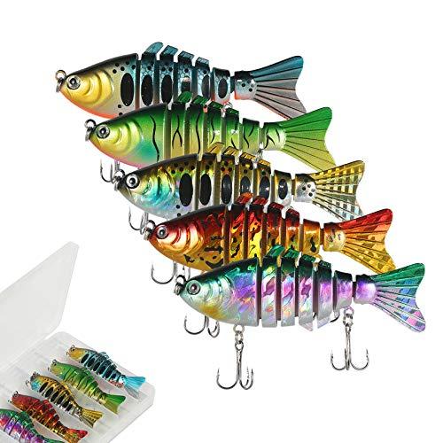 AOLVO 5Pcs Ensemble de leurres de pêche à l'achigan, 3D Eyes Leurre de pêche Appâts à Double Crochet Appâts artificiels, Matériel de pêche au brochet avec boîte à pêche