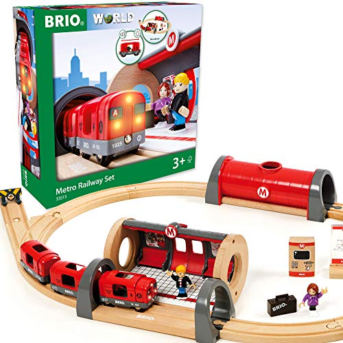 Brio 33513 Metro Railway Set | 20 Piece Train Toy with Accessories and Wooden Tracks for Kids Age 3 and Up