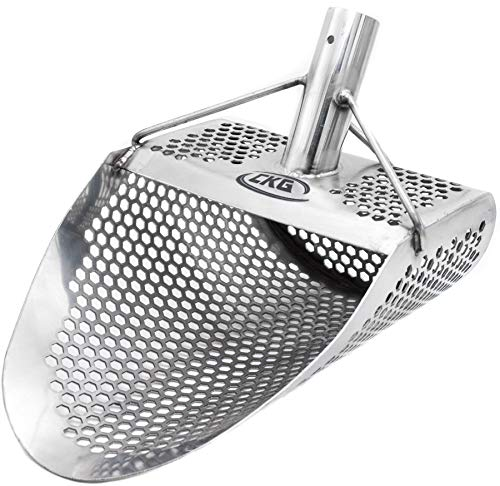 """CKG Metal Detecting Sand Scoop 11"""" x 8"""" Stainless Steel Shovel for Beach Treasure Hunting Designed with 7mm Hexagon Shaped Holes"""