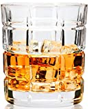 LANFULA 4 - Piece Rocks Style Whiskey Glass Tumbler, Lead Free Crystal, Large Old Fashioned Cocktail...
