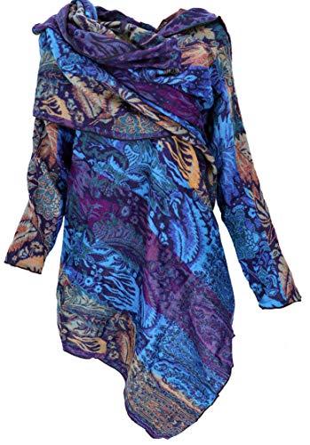 GURU SHOP Chaqueta envolvente convertible chic, para mujer, azul, sintética, talla: 40, estilo bohemio, ropa alternativa, azul/morado/naranja, 42