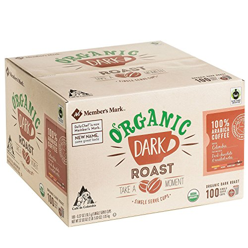 Member's Mark Organic Dark Roast Coffee 100 single-serve cups. A1