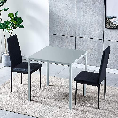 Set of 3 Dining Table Chair Set, Grey Glass Square Dining Table and 2 Black Velvet Dining Chairs, Modern Dining Room Set with Metal Legs 3-Piece Kitchen Table Chairs Set for Living Room Restaurant