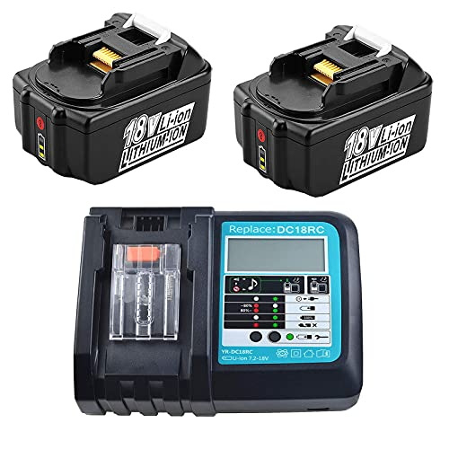 2 X BL1850B 18V 5.0Ah with Fast Charger Replacement 14.4V-18V 3A DC18RC DC18RA Compatible with Makita BL1850B BL1860B BL1830B BL1815N, DLM431Z DLM380Z DMR102 DMR105 DMR108 LXT Tool Battery
