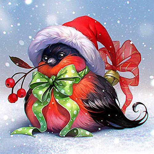 AIWO Diamond Painting Kits Christmas Bird for Adults DIY 5D Round Full Drill Acrylic Embroidery Cross Stitch Diamond Paint by Numbers for Home Wall Decor -12' X 12'