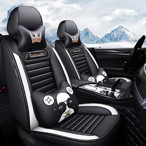 Car Life Fundas de Asiento de Piel Cuatro Estaciones, sin Costuras, de 360 Grados, Juego Completo de 5 Asientos de Ajuste Universal.
