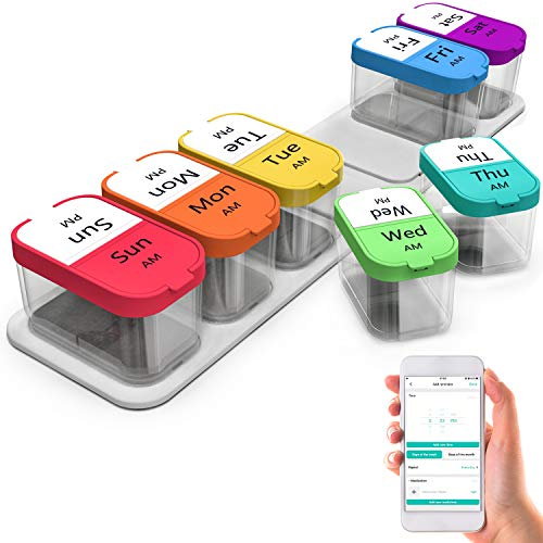Daviky Extra Large Pill Organizer 2 Times a Day - Smart Large Weekly Pill Organizer 7 Day Pill Box with Free Smartphone Reminder App, Am Pm Pill Organizer 7 Day, Huge Compartments Pill Container Cases