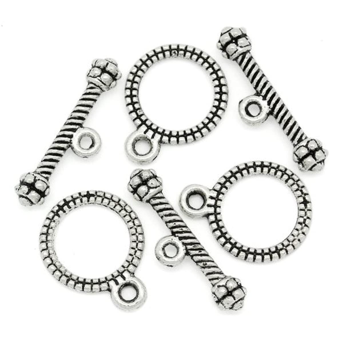 PEPPERLONELY Brand, 100 Sets Antiqued Silver Stripe Pattern Toggle Clasps