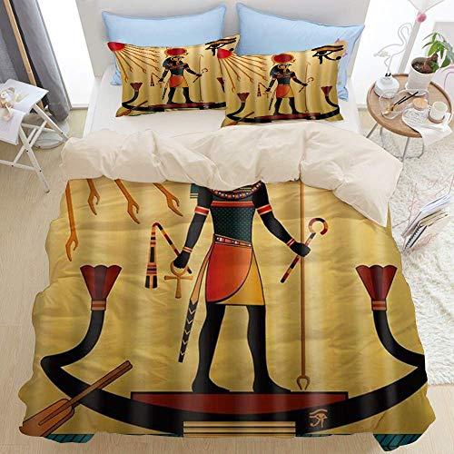 Ensemble de literie 3 pièces de qualité supérieure, impression numérique motif pharaons, ensemble de housse de couette à glissière de luxe moderne et 2 taies d'oreiller dernière housse de couette en m