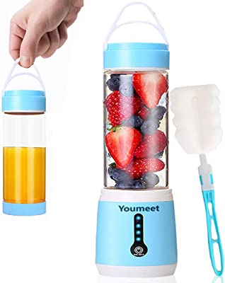 Portable Blender,Youmeet 16oz Mini Personal Blender,100W Powerful Crusher,LED power indicator Immersion Blender, USB Rechargeable Mini Juicer Cup with Cup Lid and Brush for Shakes Smoothies Fruits Veggies Ice Home Office Sports Travel Outdoors