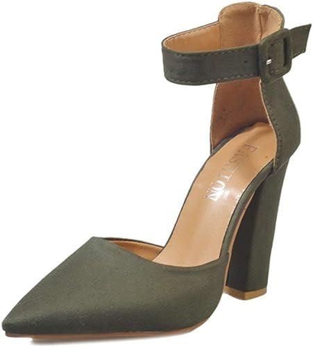 Oudan Chaussures à Lacets pour Les Les dames, Chaussures à Pois, Les Les dames, Cheville, Talons Hauts, Bloc, Chaussures de soirée, Chaussures Souples (Couleuré   Vert, Taille   37 EU)