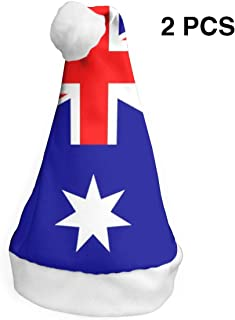 Australia National Flag Santa Claus Hat Christmas Party Supplies Decor for Kids and Adults 2Pcs