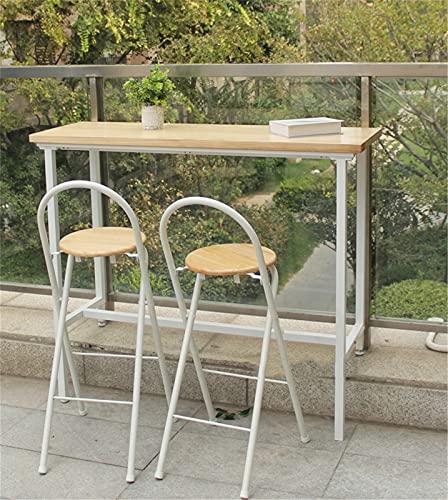 Mesa de barra de cocina Madera maciza Mesa de comedor de desayuno Mesa de balcón Mesa de bar rectangular estrecha, Fácil montaje, Estilo industrial,Beige,Length 100cm/39.4''