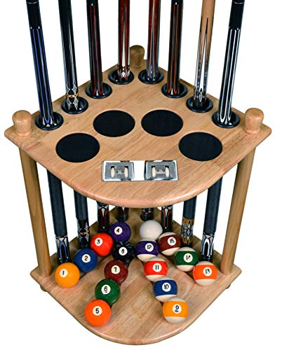 Cue Rack Only 8 Pool Billiard Stick Ball Floor Stand with Scorer Choose Mahogany Dark Oak or Black Finish Natural