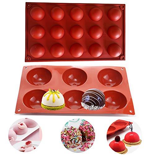 BOYATONG 2 Stücks Silikonform halbkugel,Silikonform für Schokolade,Dome-Mousse runde Form,Backform Halbkugel, Backform zur Kuchen, Gelee, Pudding,6 Hohlräumen und 15 Hohlräumen