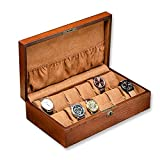 JIAJBG Caja de almacenamiento de reloj clásica Caja de almacenamiento de reloj con cerradura de madera Caja de acabado Caja de visualización de reloj mecánico para reloj exquisito/marrón/talla única