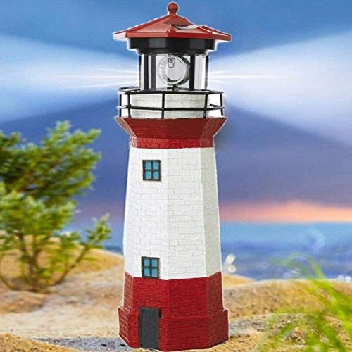 38cm Large 15 inch Lighthouse Decorative Light Waterproof Solar Led Lighthouse Lamp-for Party Terrace Patio Pathway, Garden Ornaments Outdoor Red