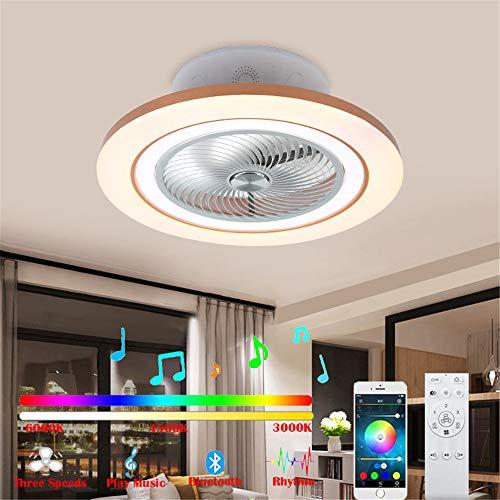 Bluetooth Ventilator Deckenleuchte mit Fernbedienung und Musik Lautsprecher Leise Deckenventilator mit Beleuchtung 96W LED Fernbedienung Dimmbar Kinderzimmer Unsichtbares Fan Deckenlampe, Ø 60cm